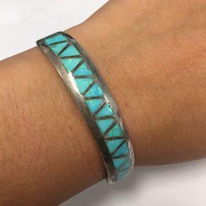 Zuni inlaid turquoise bracelet cuff